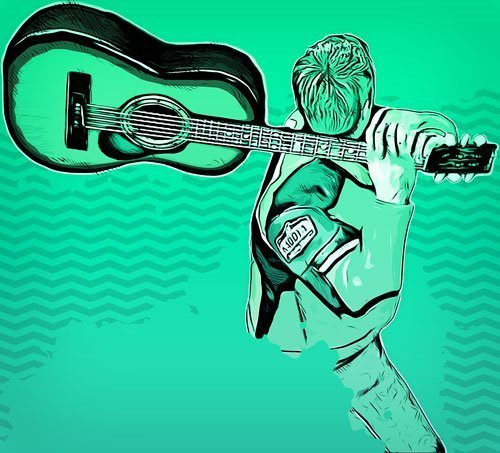 chitarrista lancia getta chitarra guitarzero