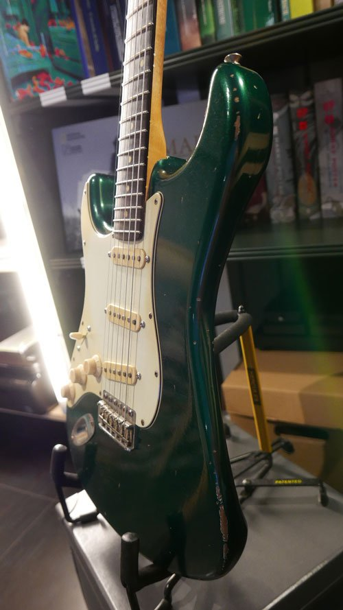 buttarini stratocaster sherwood green relic mancina lefty left hand